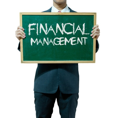 Business man holding blackboard on the background , Financial photo