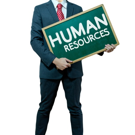 Business man holding board on the background with business word Stock Photo - 15356338
