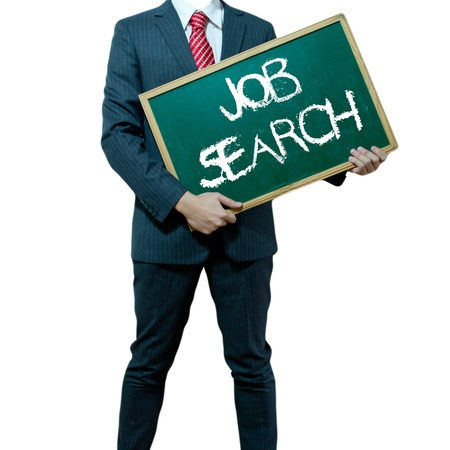 unemployed: Business man holding board on the background with business word - Job search