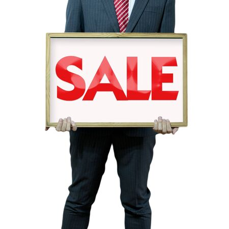 Business man holding black board sale promotion Stock Photo - 15356242