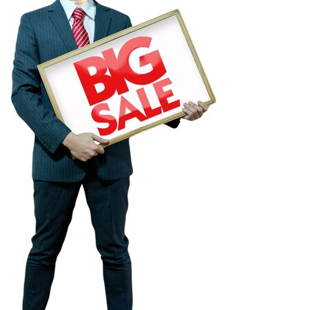 Business man holding black board sale promotion photo