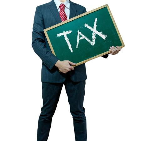 impuestos: Hombre de negocios la celebraci�n de junta en el fondo con la palabra de negocio