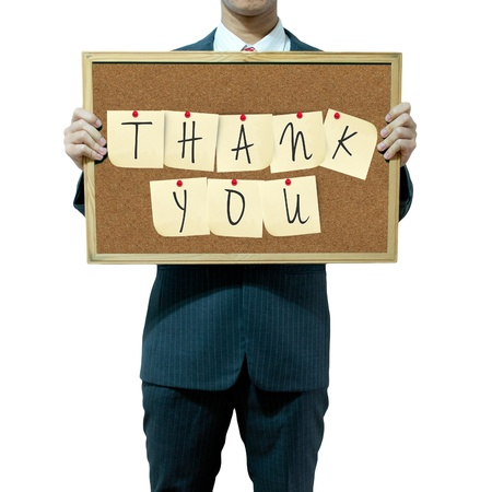 Business man holding board on the background Stock Photo - 15559996
