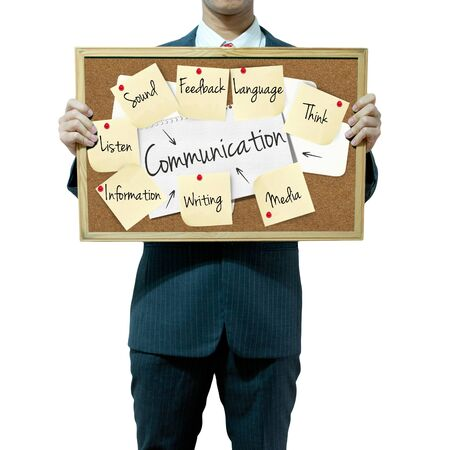 Business man holding board on the background, Communication concept Stock Photo - 15559957