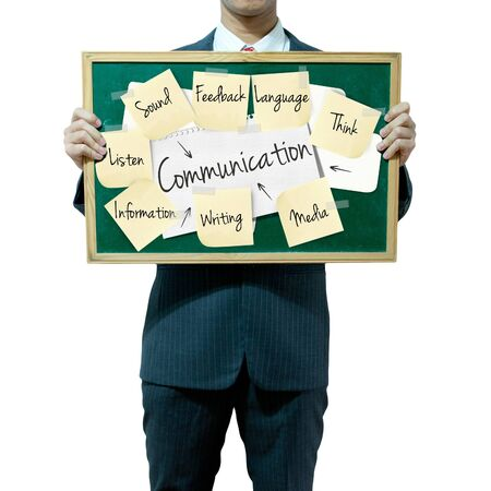 Business man holding board on the background, Communication concept Stock Photo - 15559829