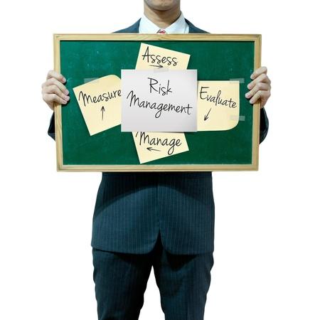 Business man holding blackboard on the background, risk management Stock Photo - 15559804