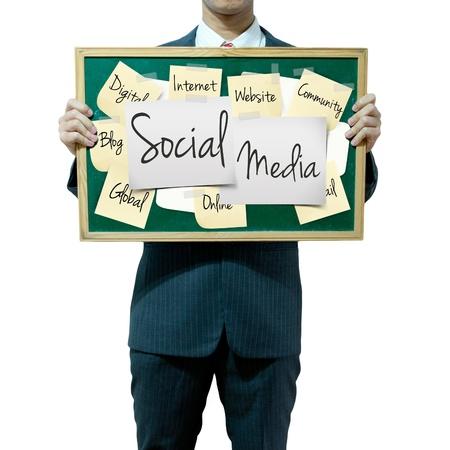 weblog: Business man holding board on the background, Social Media concept