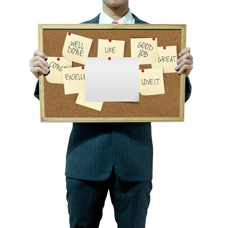 compliments: Business man holding board on the background, compliments Stock Photo