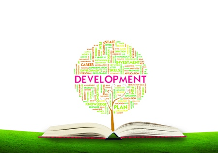 academic achievement: Tree word tag cloud business concept on ground grass background