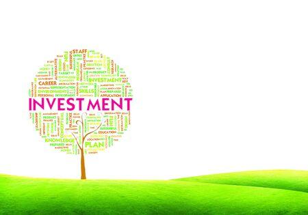 desarrollo econ�mico: Palabra Tree nube de etiquetas concepto de negocio sobre fondo de tierra hierba Foto de archivo