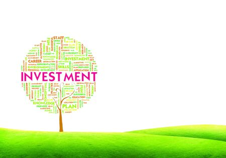 economic development: Tree word tag cloud business concept on ground grass background