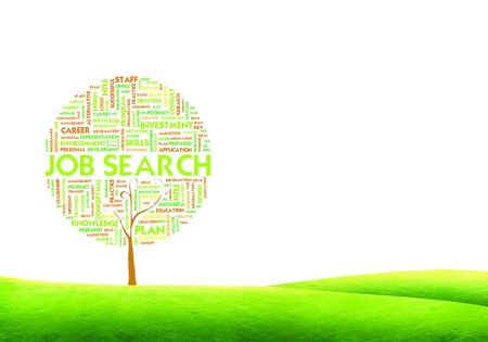 hired: Tree word tag cloud business concept on ground grass background - Job search Stock Photo