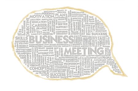 Wordcloud on texture paper speech bubble, Business Meeting photo