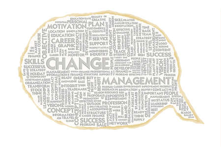 adapting: Wordcloud on texture paper speech bubble, Change management Stock Photo
