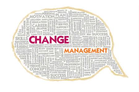 adapting: Wordcloud on texture paper speech bubble, Change management Stock Photo