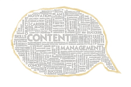 Wordcloud on texture paper speech bubble, Content management photo
