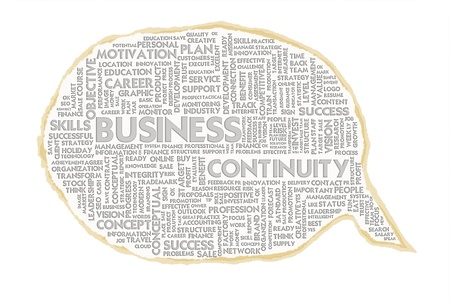 Wordcloud on texture paper speech bubble, Business Continuity Stock Photo - 15559994