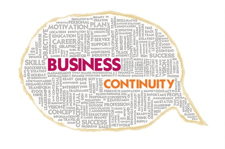 disaster recovery: Wordcloud on texture paper speech bubble, Business Continuity