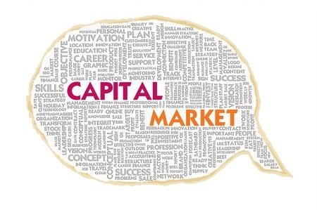 venture: Wordcloud on texture paper speech bubble, Capital Market