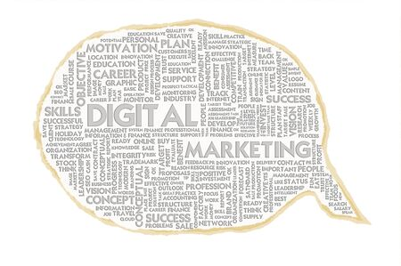 mobile advertising: Wordcloud on texture paper speech bubble, Digitak Marketing