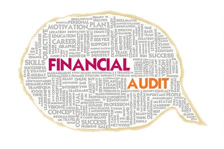 misstatement: Wordcloud on texture paper speech bubble, Financial Audit Stock Photo