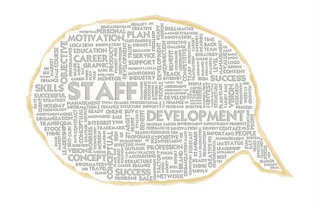staff training: Wordcloud on texture paper speech bubble, Human Resource