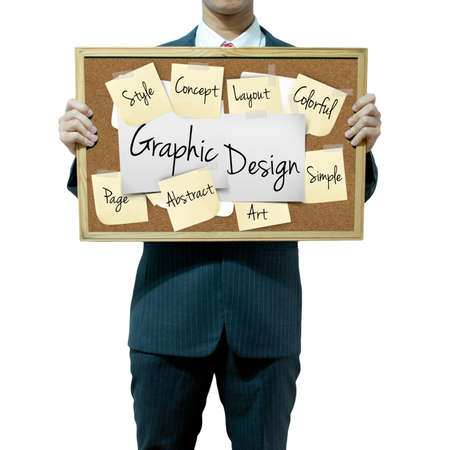 Business man holding board on the background, Graphic Design photo