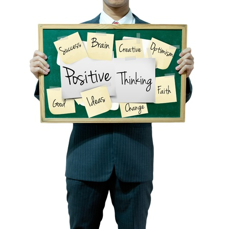 world thinking: Business man holding board on the background, Positive Thinking Stock Photo