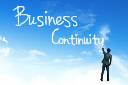 disaster recovery: Cloud for business concept, Business Continuity Stock Photo