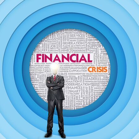 turmoil: Business word cloud for business concept, Financial Crisis Stock Photo