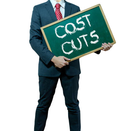 Business man holding board on the background, Cost Reduction Stock Photo - 15839389