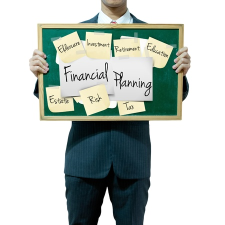 Business man holding board on the background, Financial aspect Stock Photo - 15836944