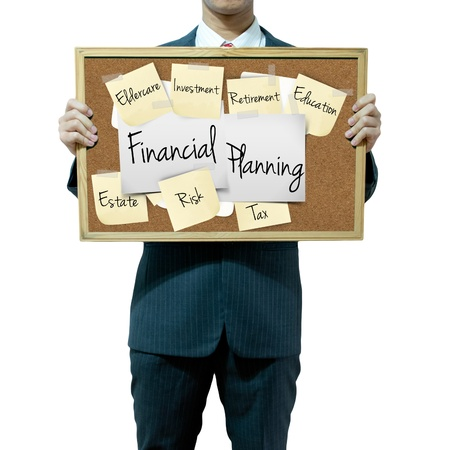 mitigation: Business man holding board on the background, Financial aspect