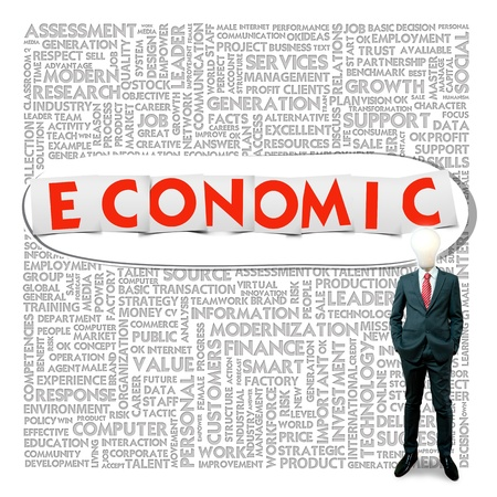 contribution: Business word cloud for business and finance concept, Economic