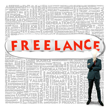 Business word cloud for business and finance concept, Freelance photo