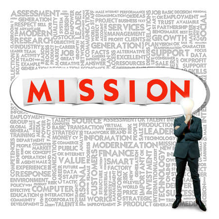 Business word cloud for business and finance concept, Mission photo