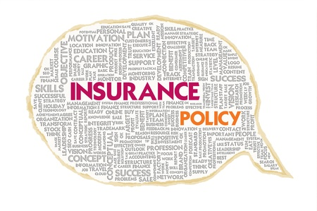 Wordcloud on texture paper speech bubble, Insurance concept photo
