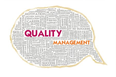 Wordcloud on texture paper speech bubble, Quality Management Stock Photo - 16166232