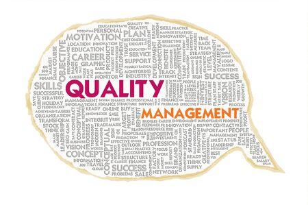 employee satisfaction: Wordcloud on texture paper speech bubble, Quality Management