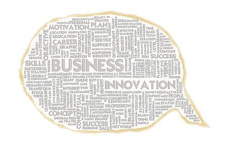Wordcloud on texture paper speech bubble, Business concept Stock Photo - 16166207