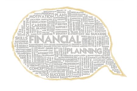 Wordcloud on texture paper speech bubble, Financial concept photo