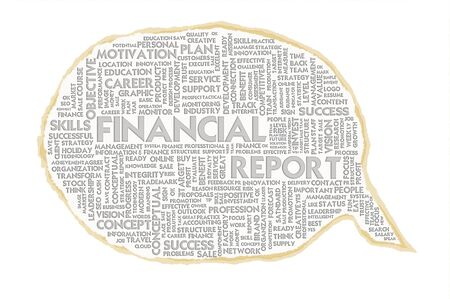 profit and loss: Wordcloud on texture paper speech bubble, Financial concept