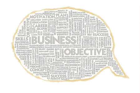 Wordcloud on texture paper speech bubble, Business concept photo