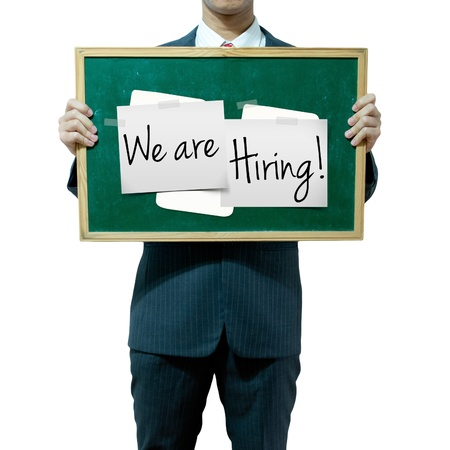 Business man holding board on the background, Job Opportunity Stock Photo - 16394821