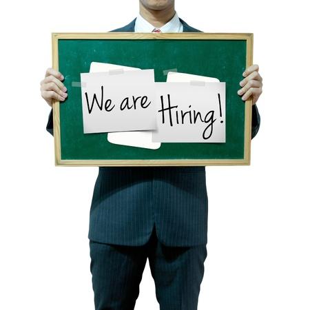vacante: Hombre de negocios la celebraci�n junta en el fondo, Oportunidad de trabajo