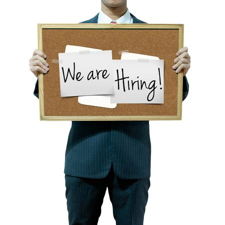 business opportunity: Business man holding board on the background, Job Opportunity