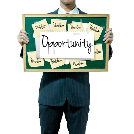 Business man holding board on the background, Opportunity Stock Photo - 16394823