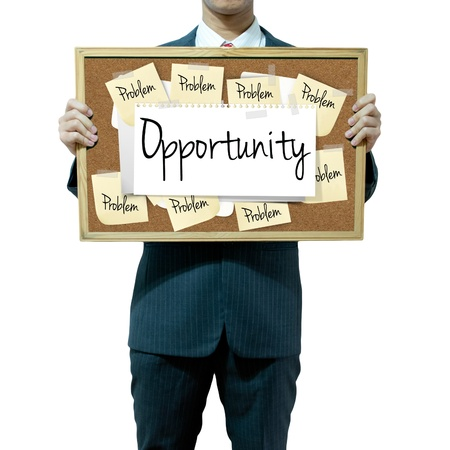 Business man holding board on the background, Opportunity Stock Photo - 16394833