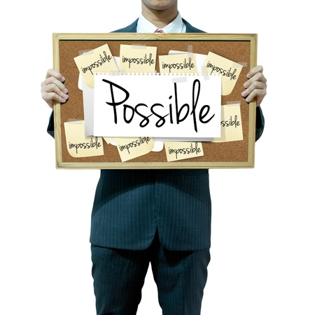 constraint: Business man holding board on the background, Opportunity Stock Photo