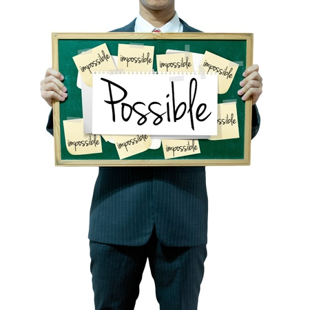 Business man holding board on the background, Opportunity Stock Photo - 16394817